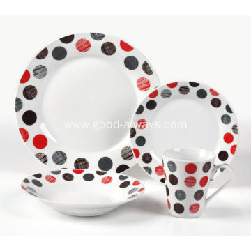 16 Piece Decal Porcelain Dinner Set with dots decal