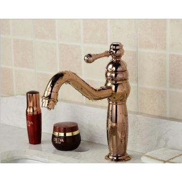 Water Control Gold Color Brass Basin Faucet
