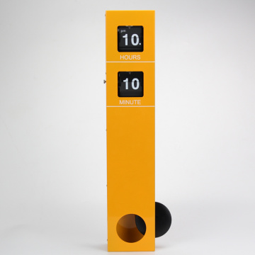 Yellow wall clock pendulum clock