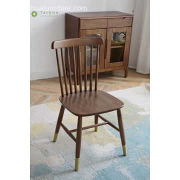 Dark Rubber Wood High Back Dining Chair