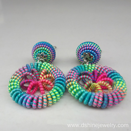 Rainbow Thread Weaved Earring Jewelry For Women New Designs