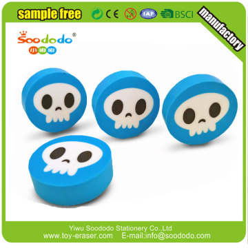 Kids cool 2D skull shaped tpr eraser