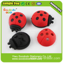 3D Hot Sale Red Beetle or Ladybug Shapes Erasers