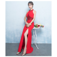 Summer new evening dress wine red toast clothing long hanging neck dress Slim was thin fish tail