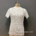 Women's polyester sequin short sleeves blouse