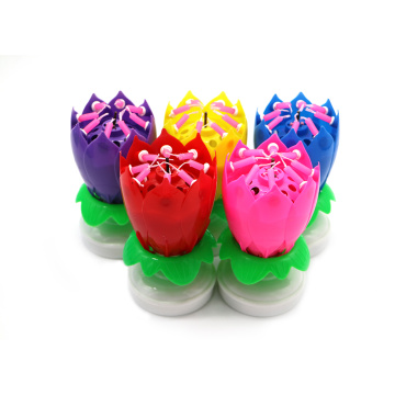 Happy birthday rotating musical lotus flower candle