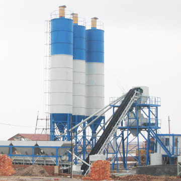 HZS60 stationary belt type concrete batching plant