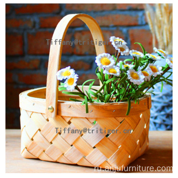 Rectangular wooden basket storage wood chip basket