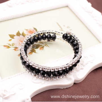 Multilayer Crystal Beaded Jewelry Rhinestone Stretch Bangle