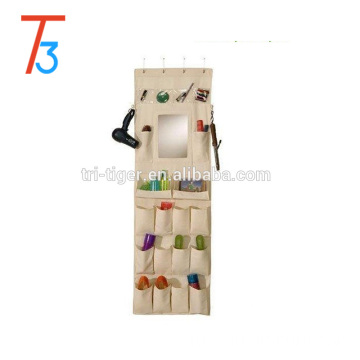 Space-saving 22 pockets Over the door Hanging Shoe Organizer with Mirror
