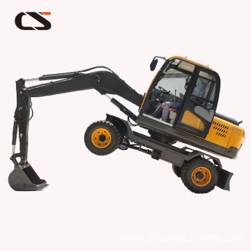mini wheeled excavator for garden construction