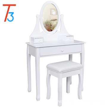 white Dressing Table Set 137 x 80 x 40 cm with adjustable mirror and stool