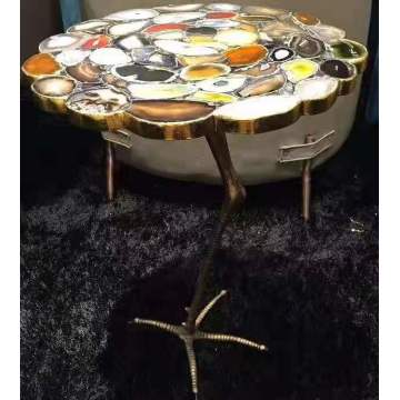 colorful agate side table top