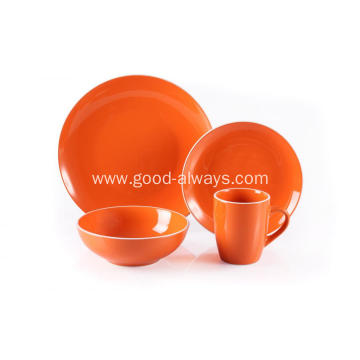 16 Piece Stoneware Dinner Set Orange Color With White Rim