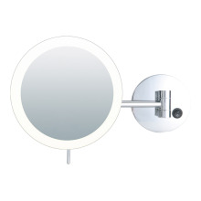 Round frameless magnifying mirror with lights