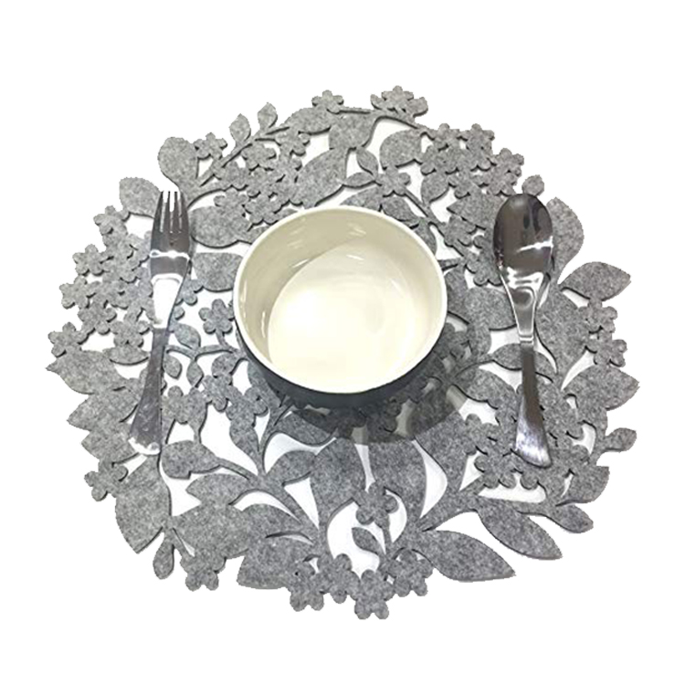 Gray Round Leaf Cup Mat