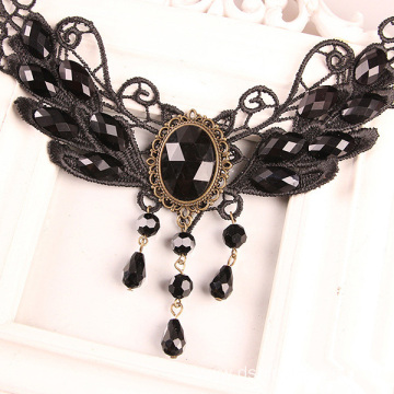 Fashion Black  Wings With Gem Lace Necklace