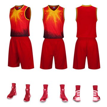 Sublimation polyester basketball uniform with pocket front