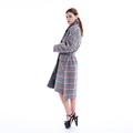 Plover check thin cashmere coat