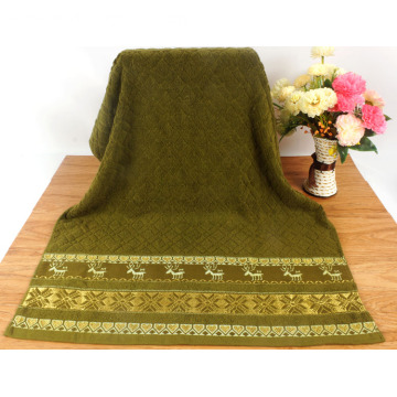 Christmas Green Bath Towels Premium Patterned
