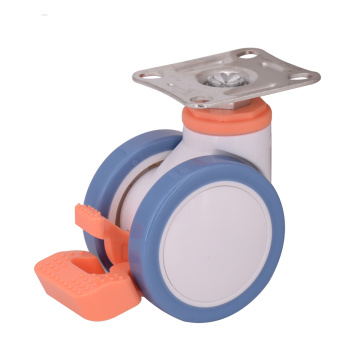 3 Inch Plate Double Wheel Casters With Brake