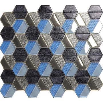 Glass Stone Splicing Hexagon Mosaic Tile