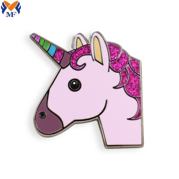 Wholesal hard enamel unicorn pin with glitter
