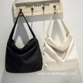 Solid Color Canvas Shopping School Shoulder Bags