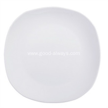 Diagonal 8-Inch ,20.3-Cm White Porcelain Rounded Square Side Plates