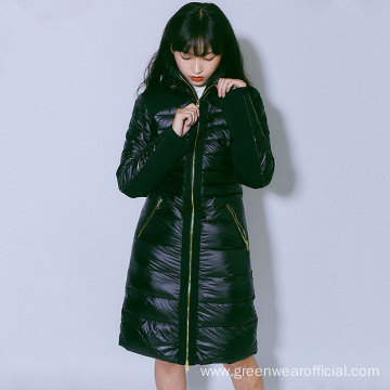 Female`s 100% Nylon long down jacket