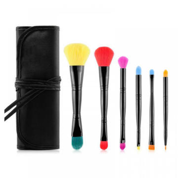 Double head travel makeup brushes set