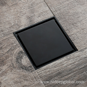 HIDEEP Line Mirror Square Full Black Floor Drain