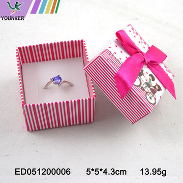Custom Cute Ribbon Paper Ring Jewelry Boxes