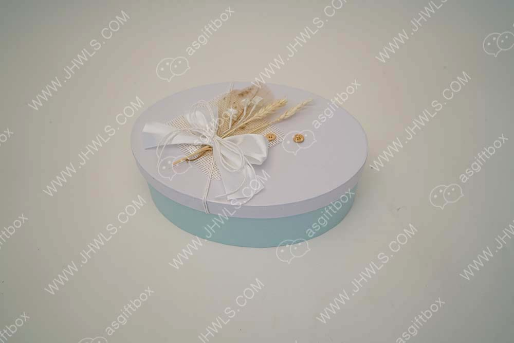 Ribbon bow handmade white and blue gift box