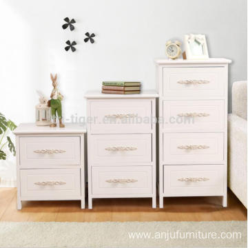 Custom white printing home livingroom carved 3 drawers night stand