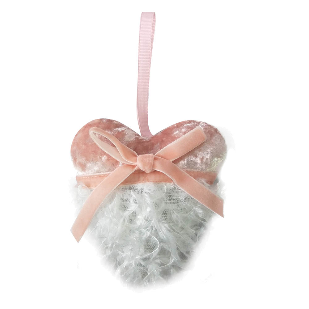 Pink Christmas Heart Shaped Ornament