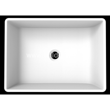 Matte white pure acrylic square sink for cabinet