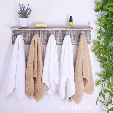 5 Hook Rustic Wood Wall Mounted Floating Bathroom Shelf and Towel Rack