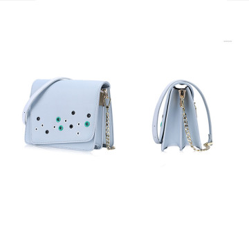 Candy color eyelet decoration asymmetric style shoulder bag