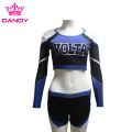 Custom Black And Blue Off-shoulder Cheer Uniforms