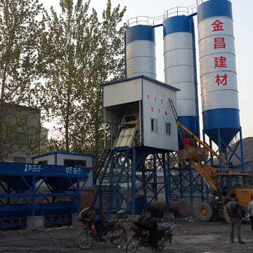HZS75 stationary concrete batching plant in Ethiopia