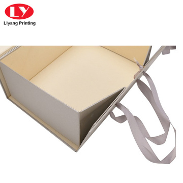 Matte gift folding box packing with ribbon closure
