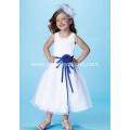 Ball Gown Round Neck Tea-length Satin Tulle Flower Girl Dress