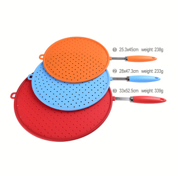 Stainless steel silicone splatter screen with non-slip grip