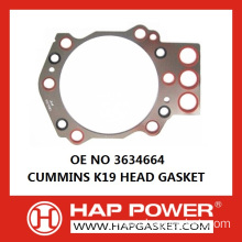 Hot Sale for Cummins Head Gasket 3634664 CUMMINS K19 HEAD GASKET supply to Trinidad and Tobago Supplier