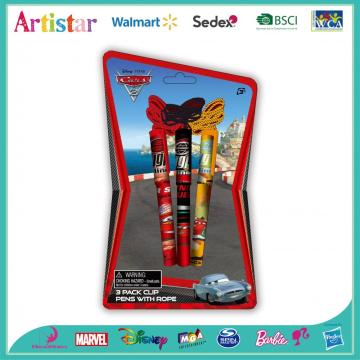 Disney Cars 3 pack clip pens with rope