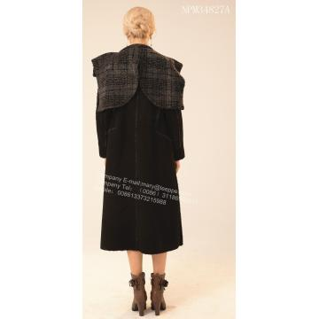 Women Long Spain Merino Shearling Wind Coat