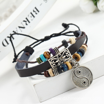 Beads Bangle Jewelry Wholesale Girl's Charm Leather Bracelet