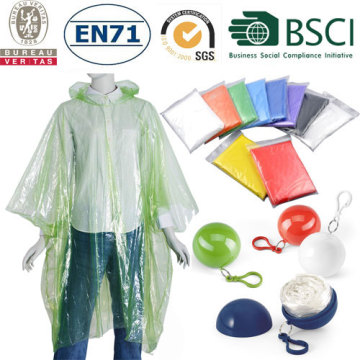 Promotion Foldable Plastic Rain Poncho In Pocket