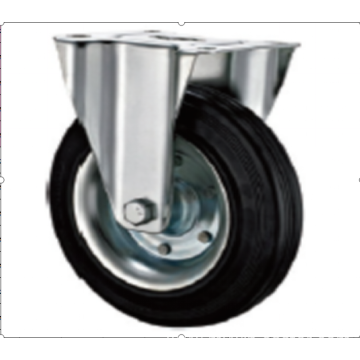 200mm    industrial rubber rigird  casters without brakes